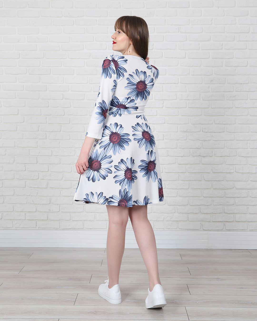 Beyaz Çiçek Desenli Elbise ELB485