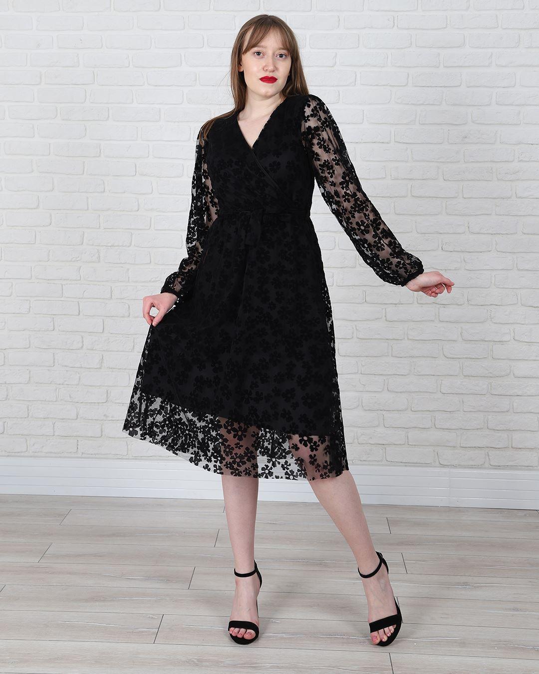 Siyah Tüllü Çiçekli Elbise ELB484
