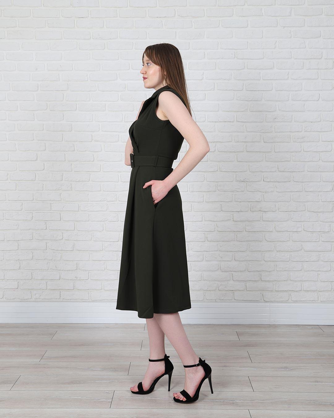 Kruvaze Yaka Haki Kemerli Elbise ELB545