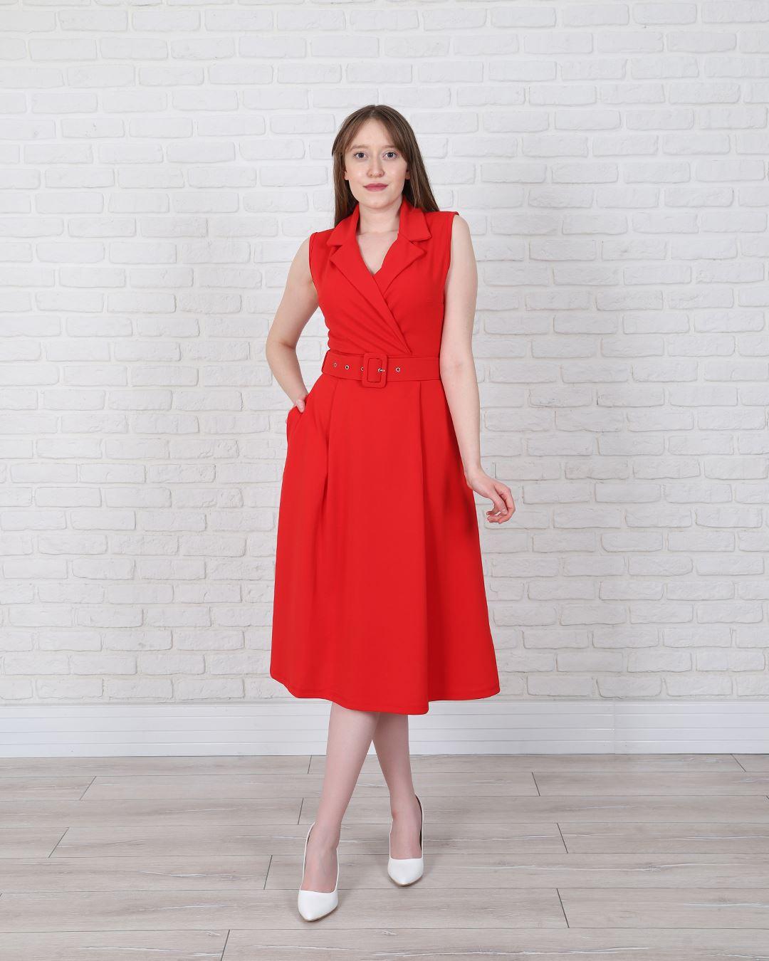 Kruvaze Yaka Kırmızı Kemerli Elbise ELB546