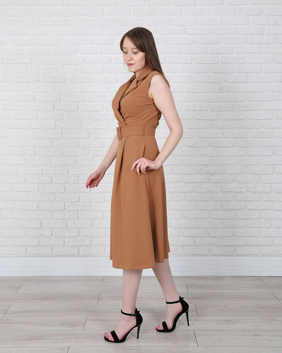 Kruvaze Yaka Taba Kemerli Elbise ELB547