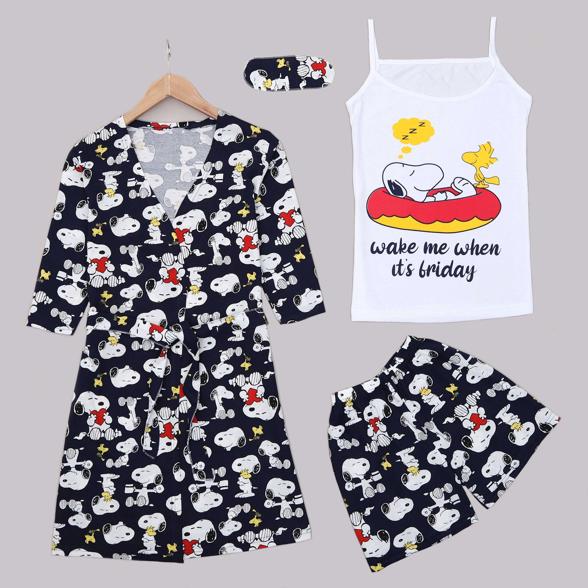 Lacivert 4'Lü Pijama Takımı PJM1310