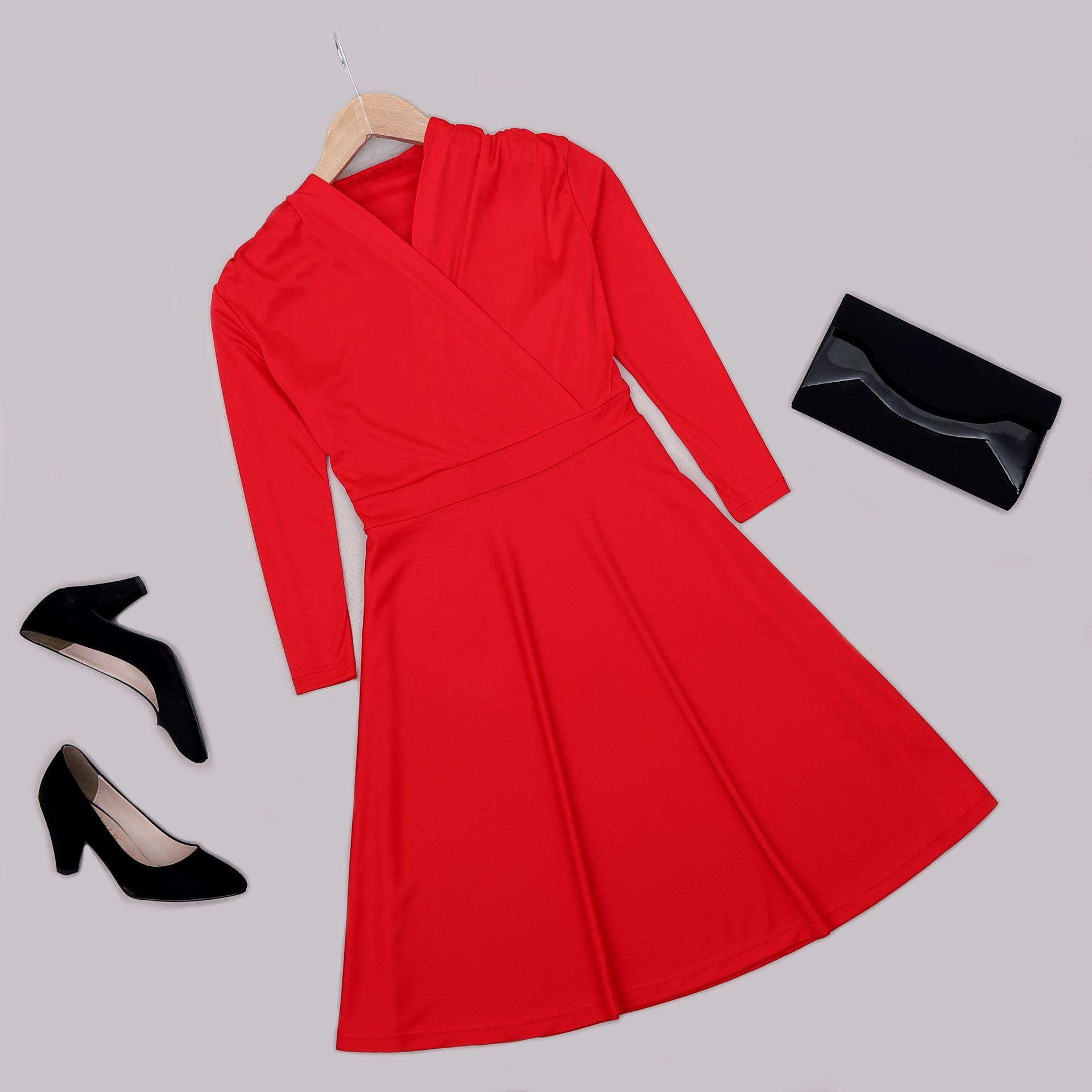 Kırmızı Kruvaze Yaka Elbise ELB548