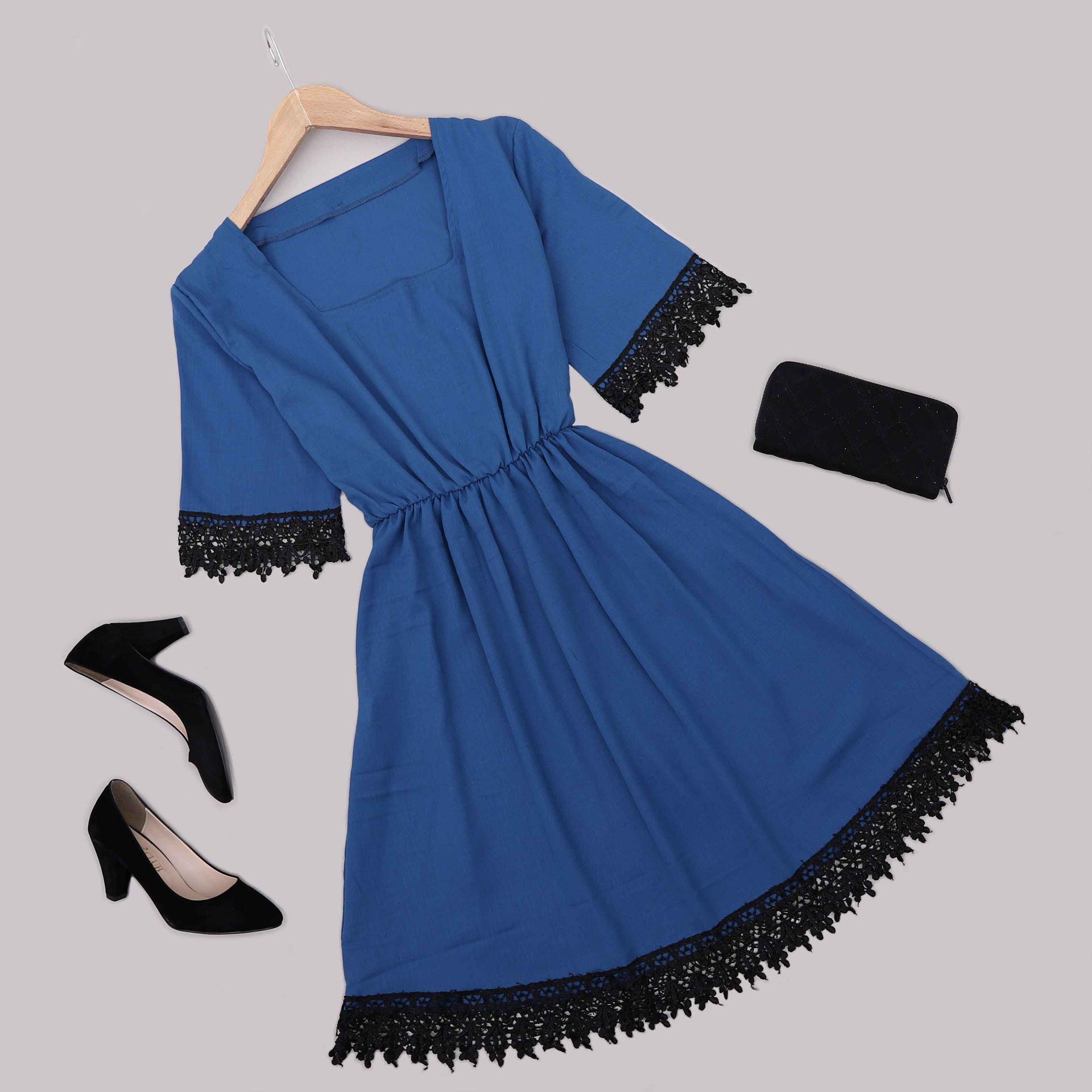 İndigo Güpürlü Elbise ELB554