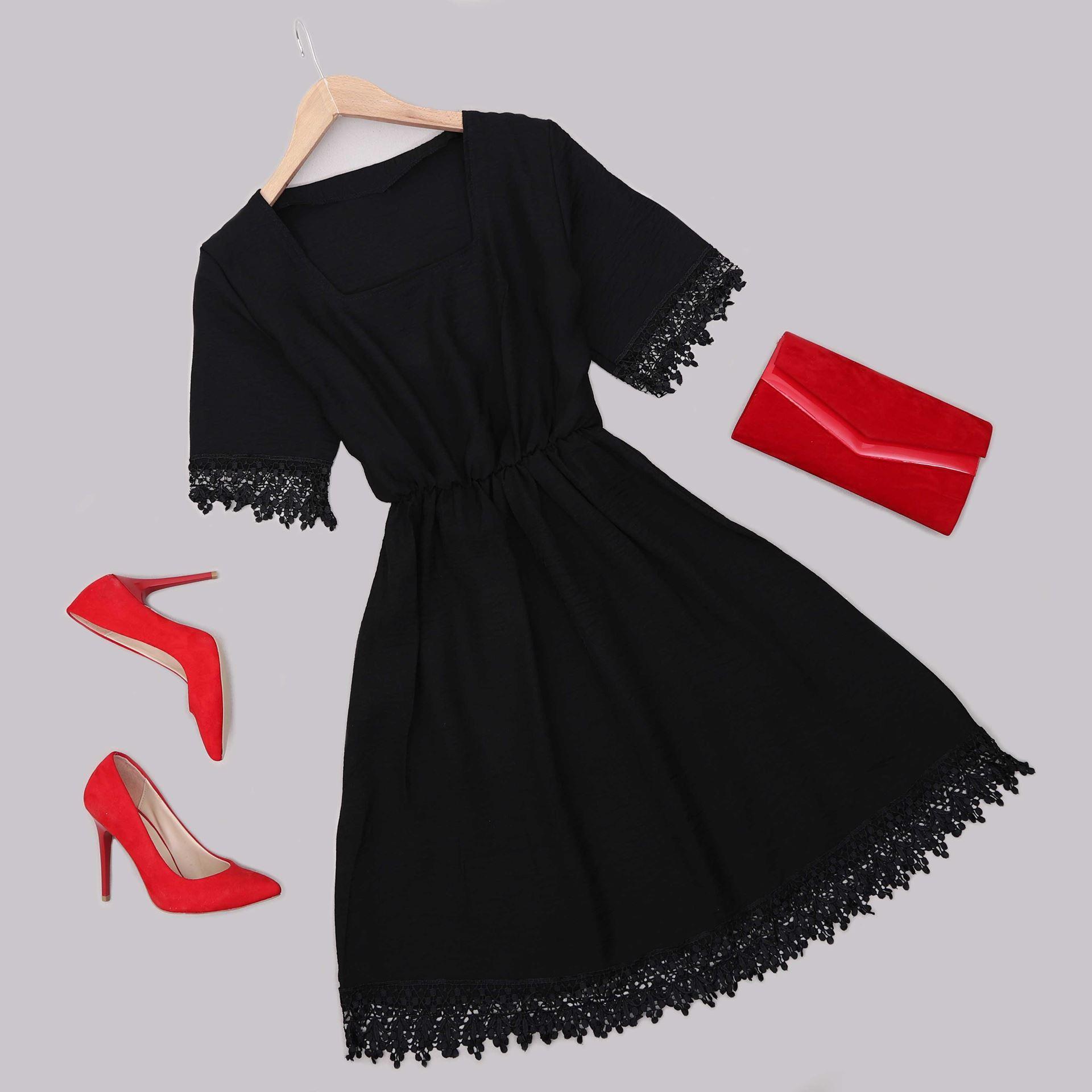 Siyah Güpürlü Elbise ELB560