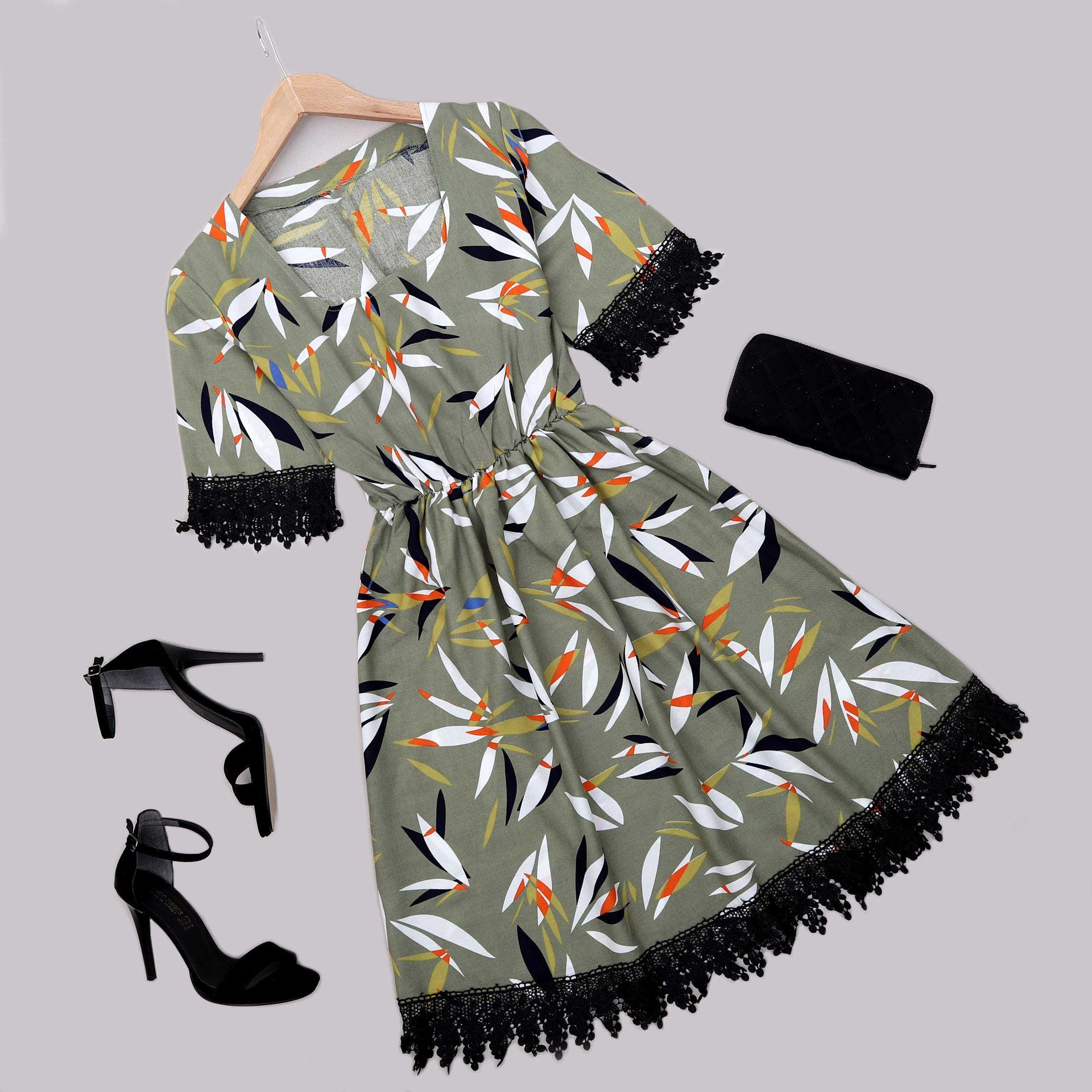 Haki Desenli Güpürlü Elbise ELB561