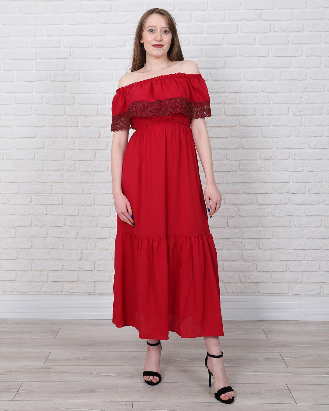 Bordo Madonna Yaka Elbise ELB549