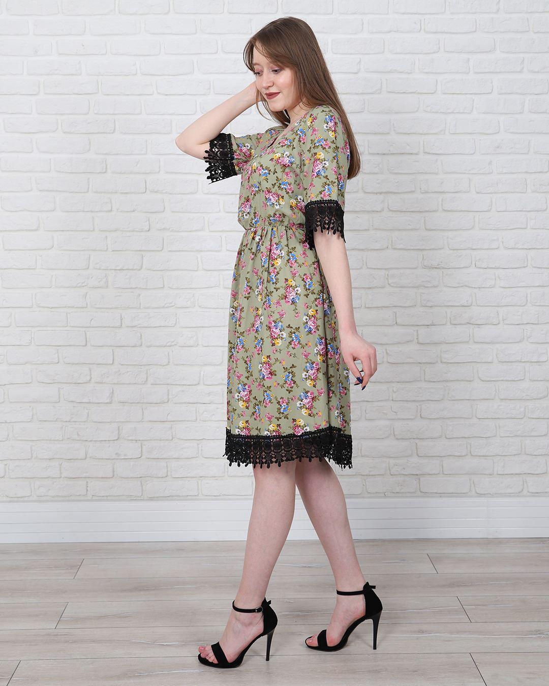 Çiçek Desenli Güpürlü Elbise ELB553