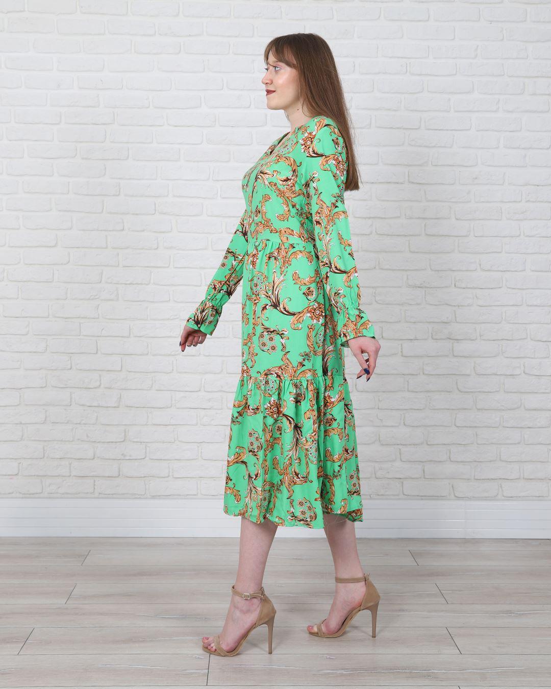 Yeşil Desenli Elbise ELB483