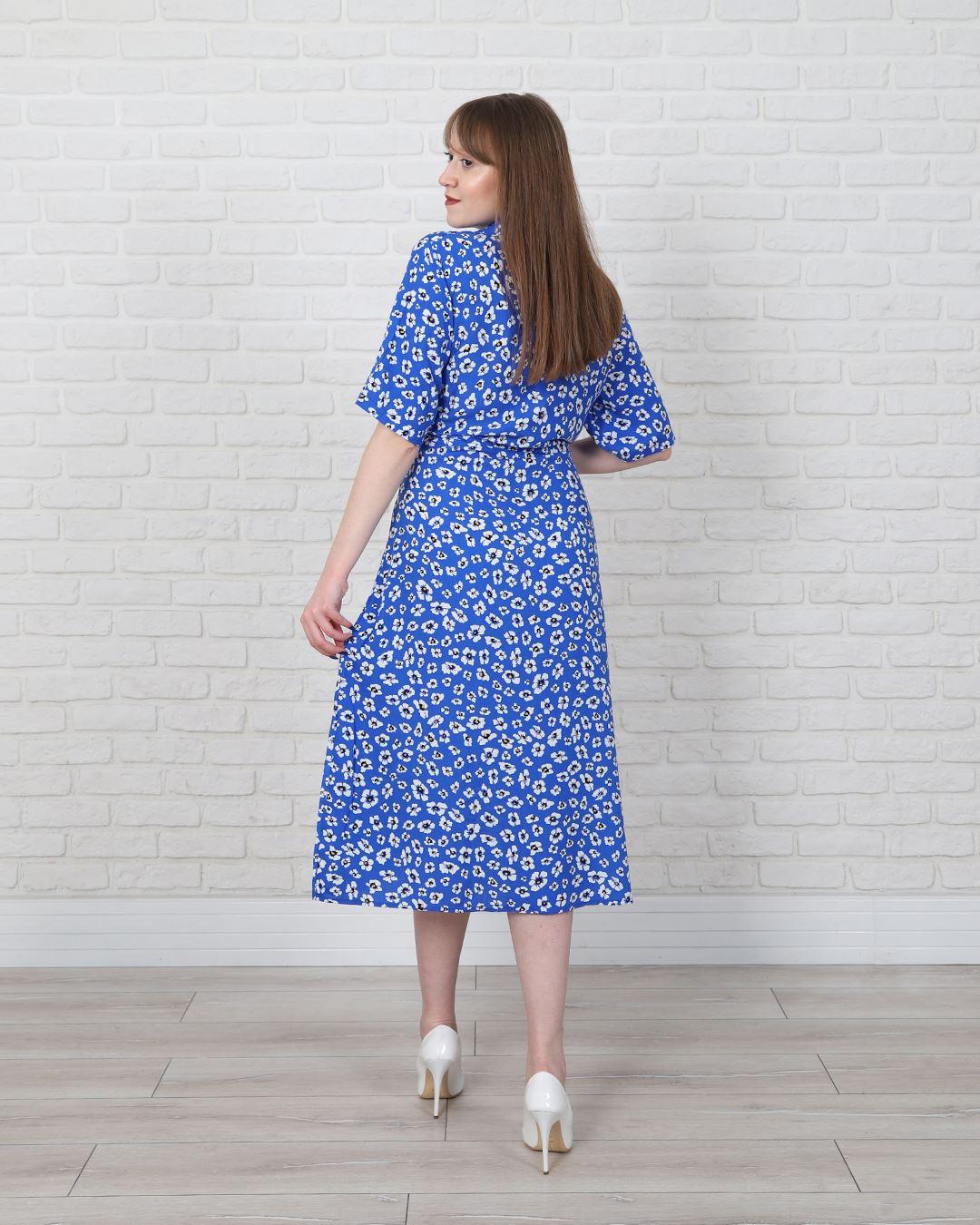 Mavi Çiçekli Elbise ELB482