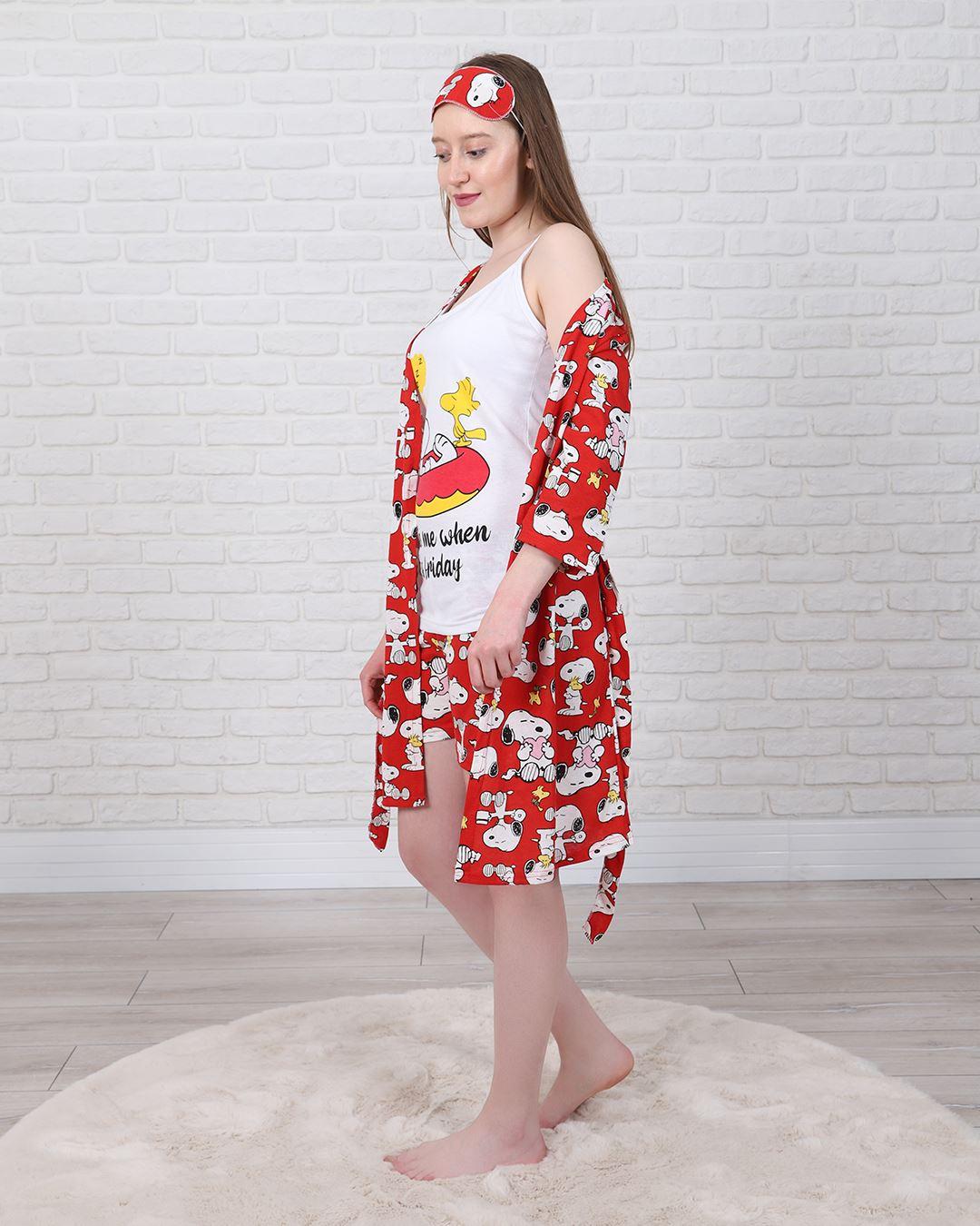 Kırmızı Snoopy 4'Lü Pijama Takımı PJM1322