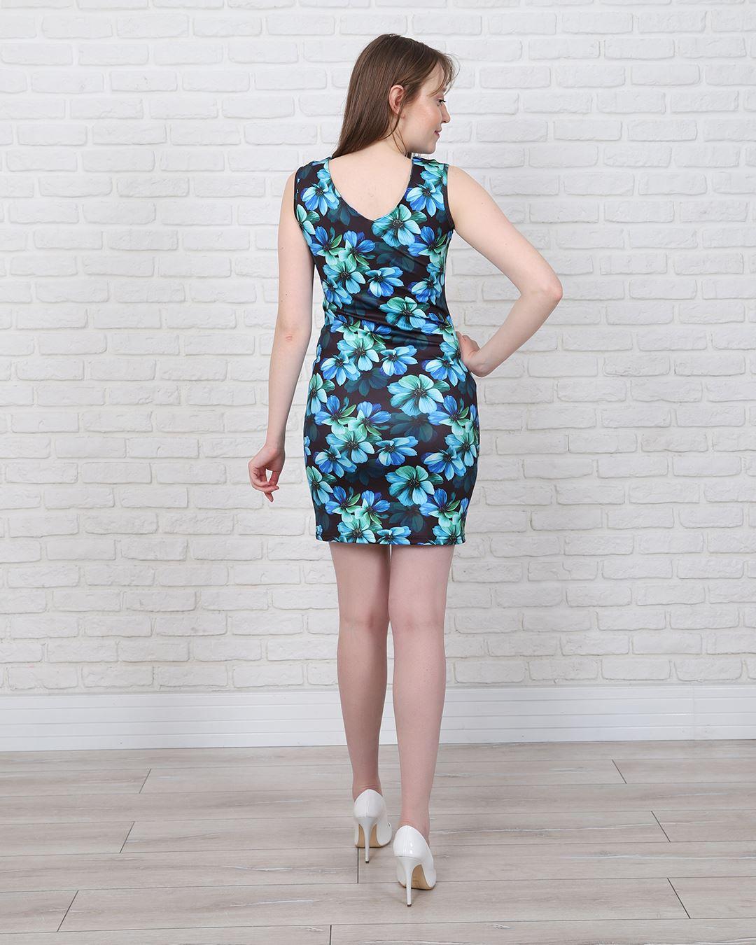 Mavi Çiçekli Elbise ELB465