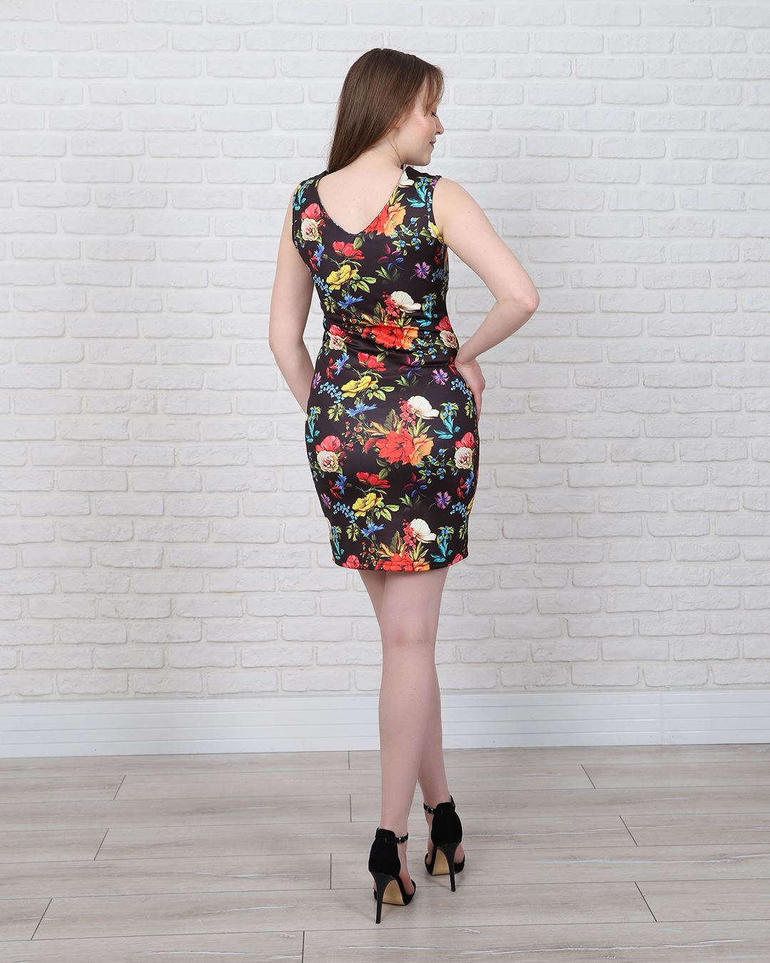 Siyah Çiçekli Elbise ELB456