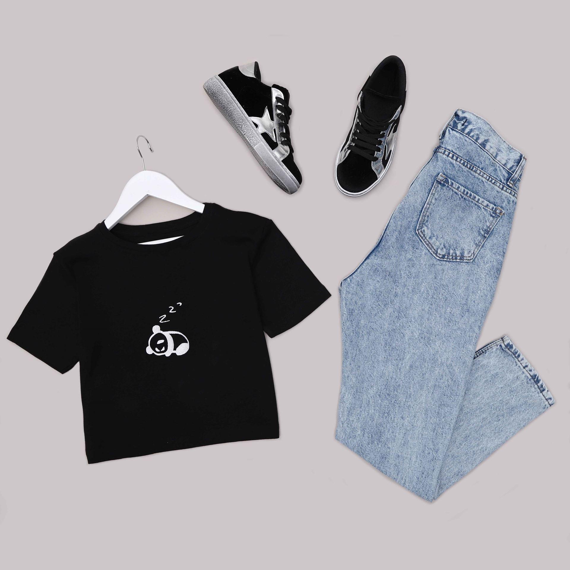 Siyah Crop T-Shirt TSH219