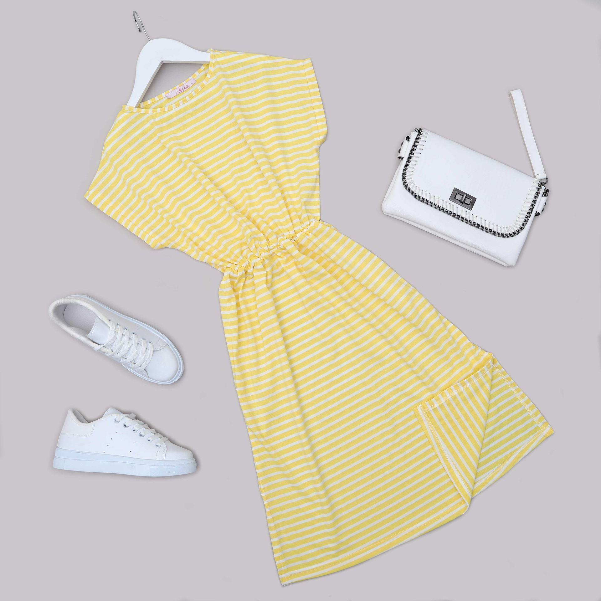 Sarı Çizgili Elbise ELB566