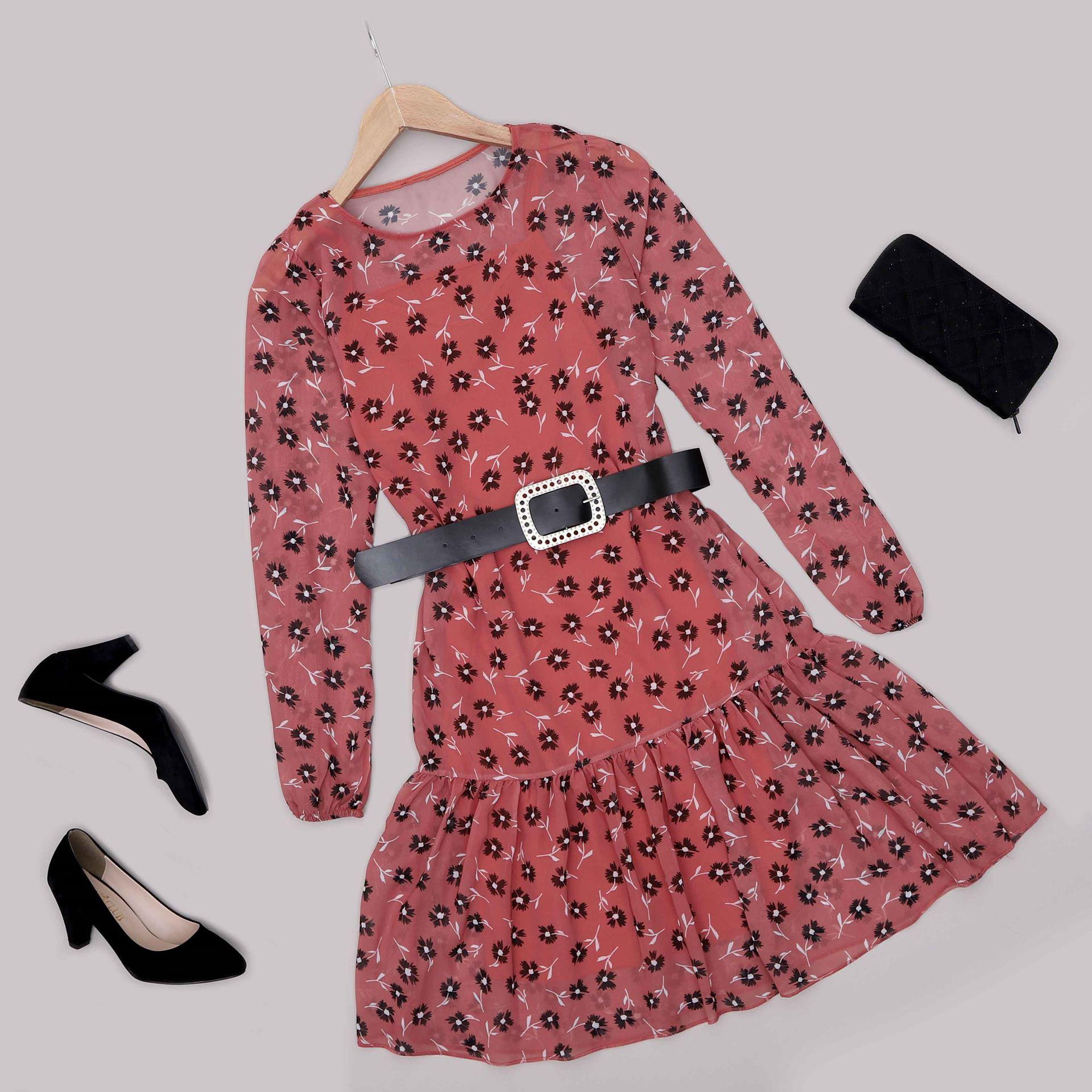 Gül Kurusu Şifon Elbise ELB574