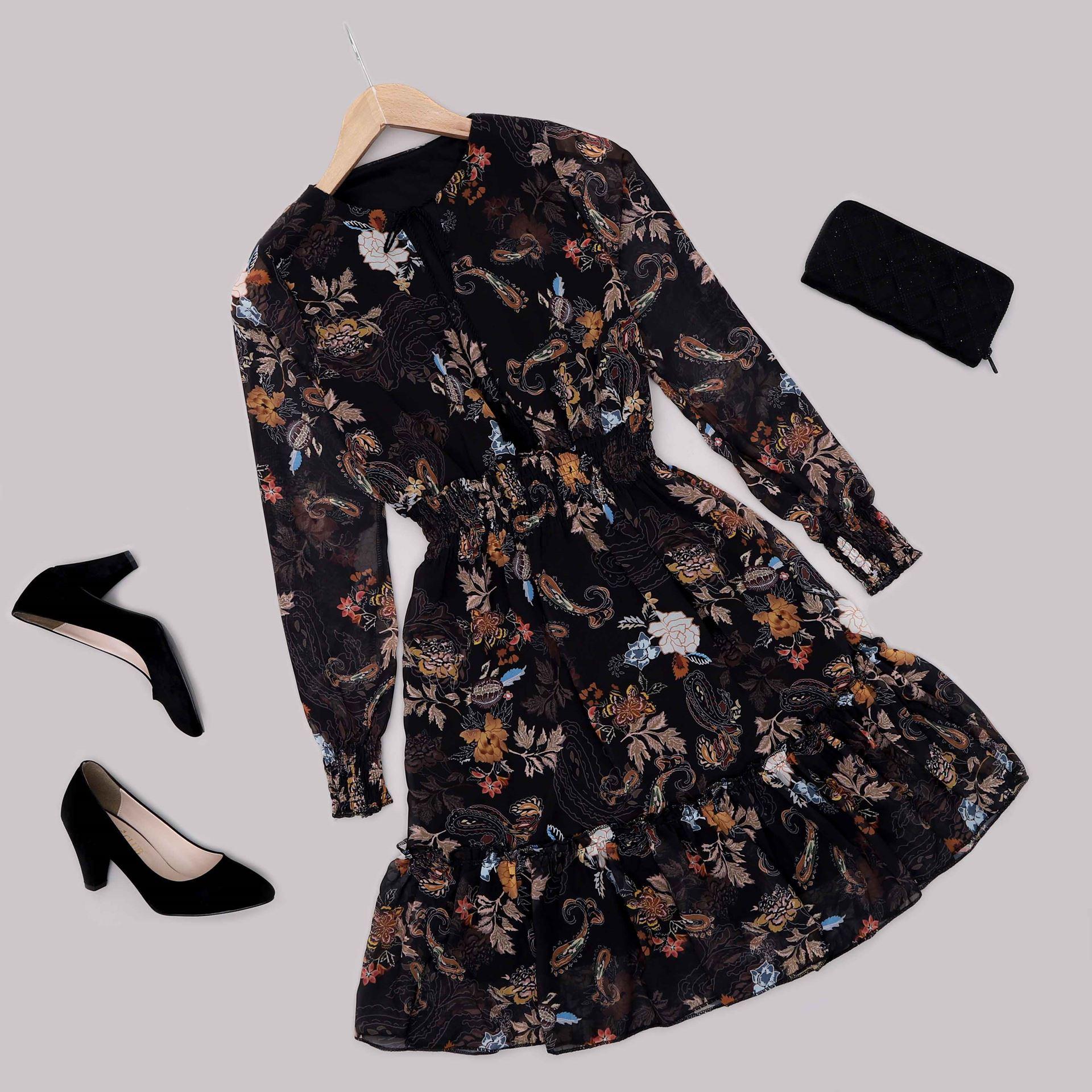 Siyah Desenli Şifon Elbise ELB575