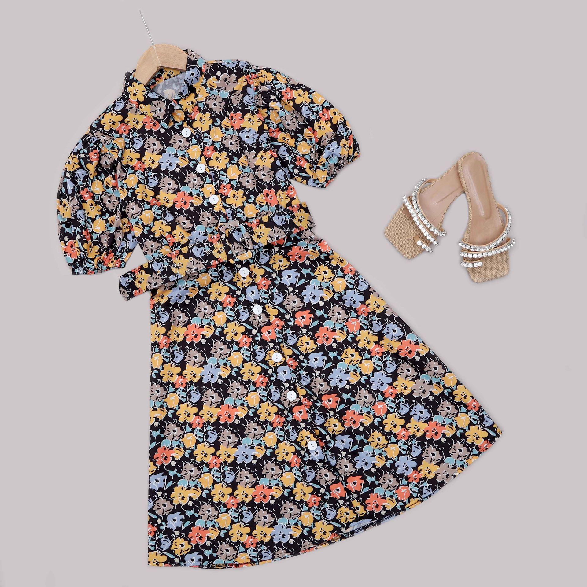Çiçekli Kemerli Elbise ELB576