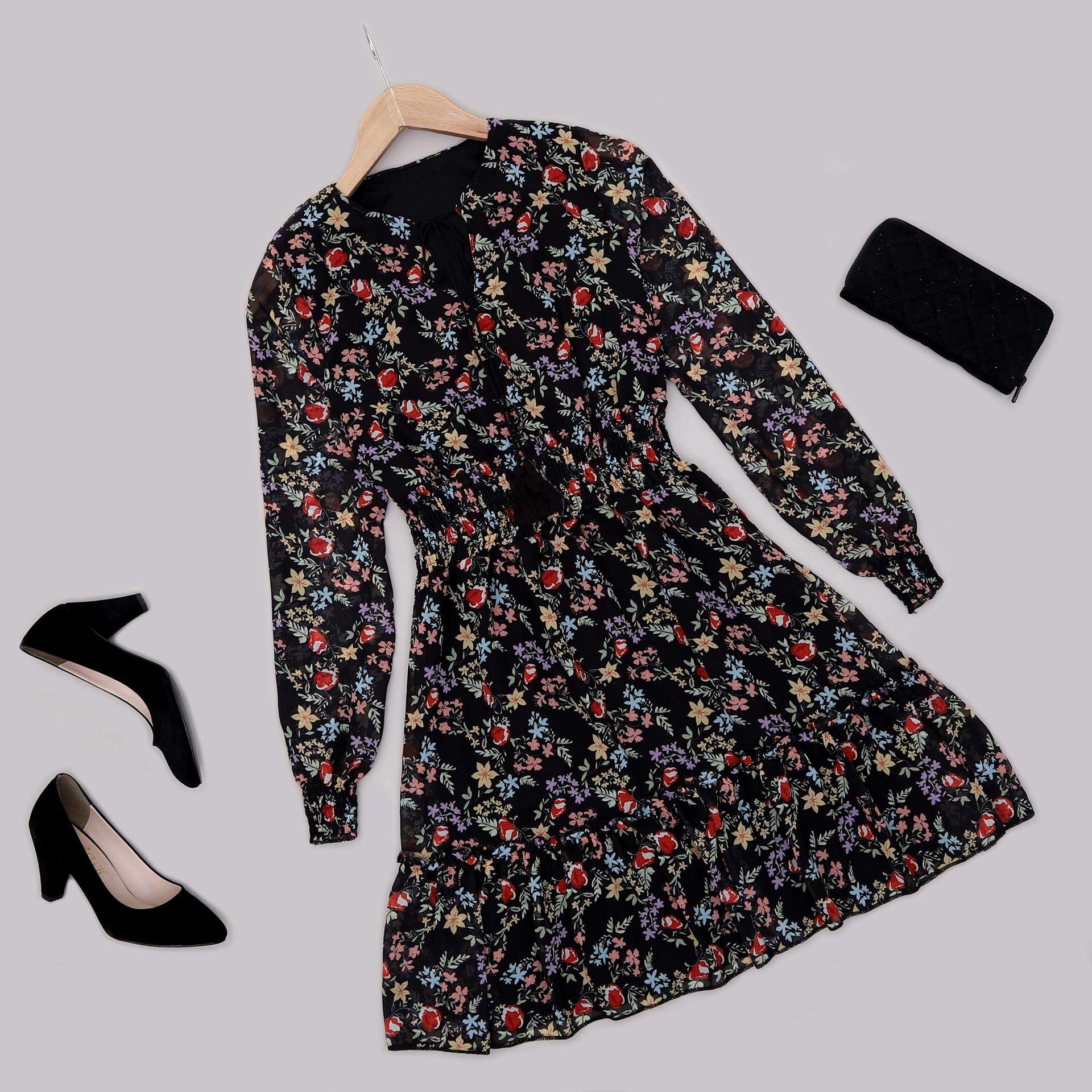 Siyah Çiçekli Şifon Elbise ELB579