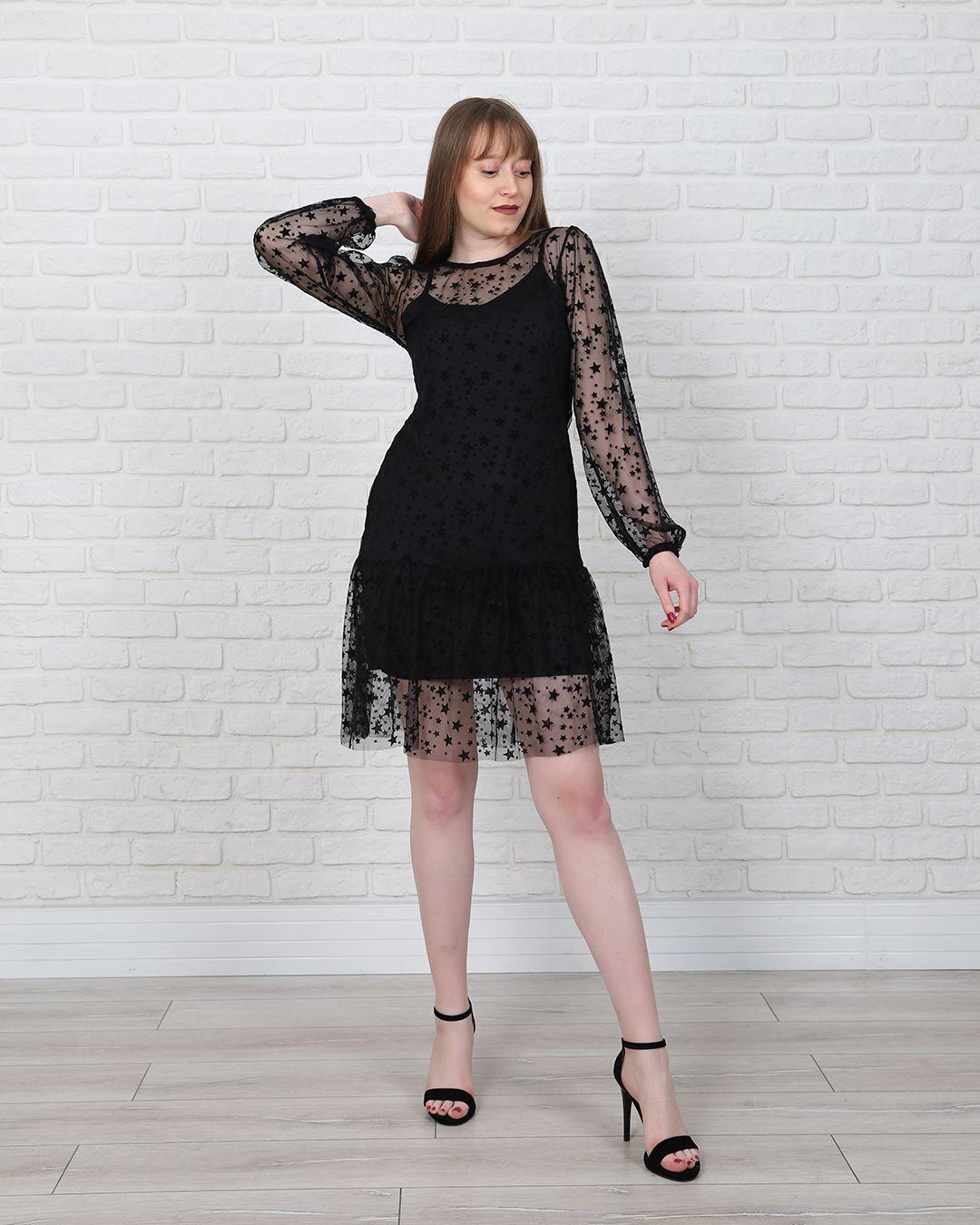 Siyah Yıldızlı Şifon Elbise ELB582