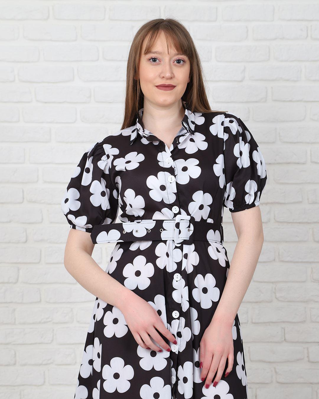Siyah Çiçekli Kemerli Elbise ELB573