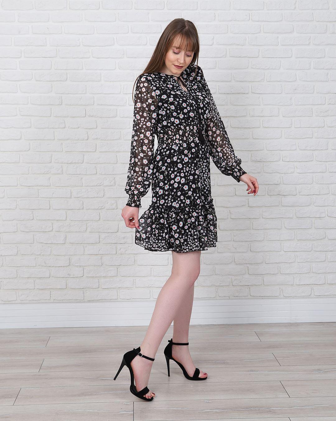 Siyah Çiçekli Şifon Elbise ELB580