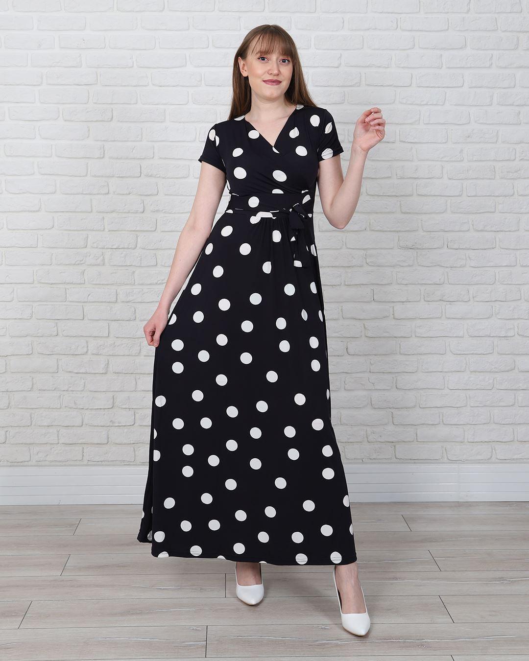 Lacivert Puantiyeli Elbise ELB567