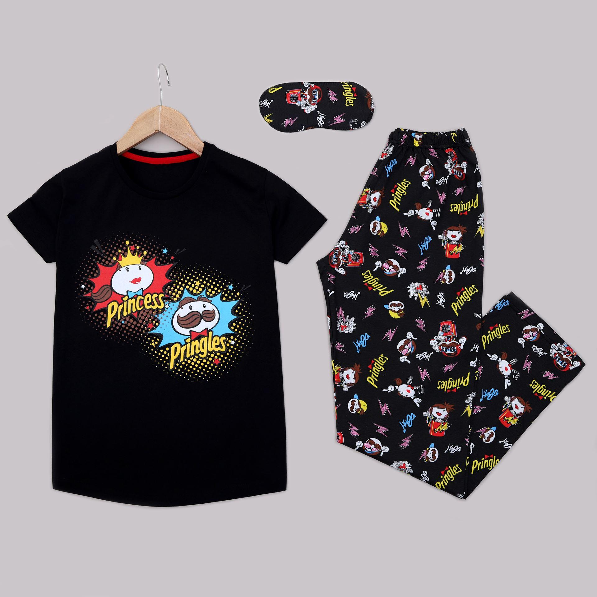 Siyah Uyku Bantlı Pijama Takımı PJM1331