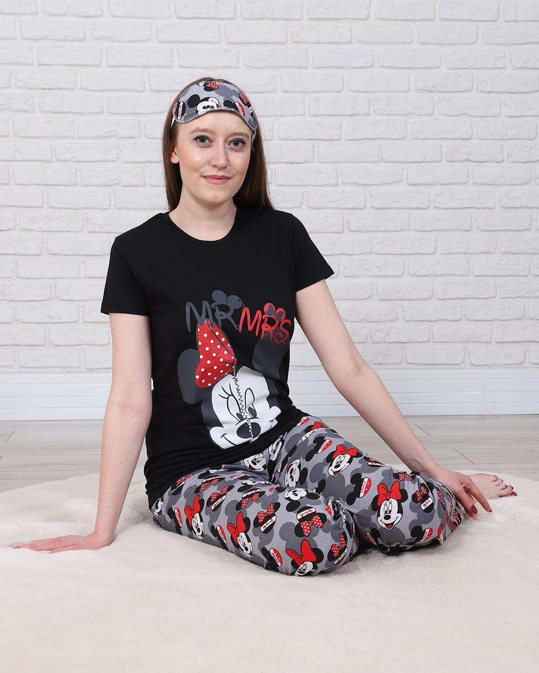 Siyah Uyku Bantlı Pijama Takımı PJM1333