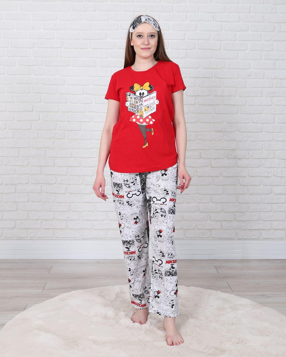 Kırmızı Uyku Bantlı Pijama Takımı PJM1335