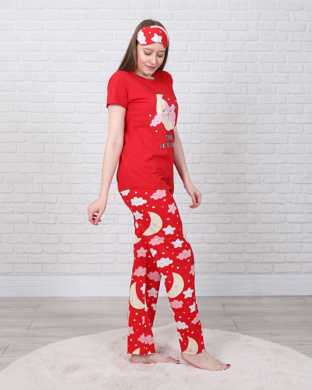 Kırmızı Uyku Bantlı Pijama Takımı PJM1329