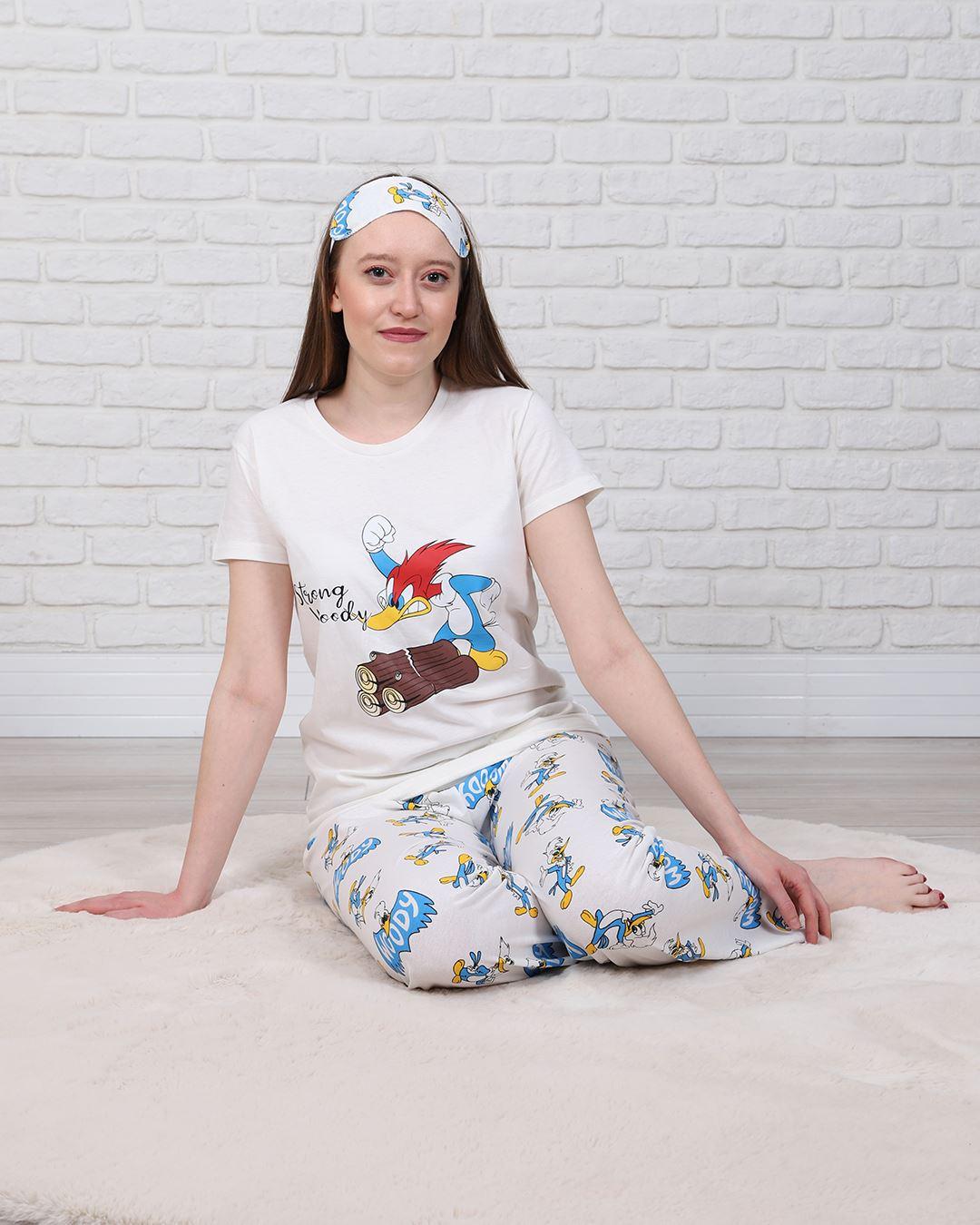 Ekru Uyku Bantlı Pijama Takımı PJM1336