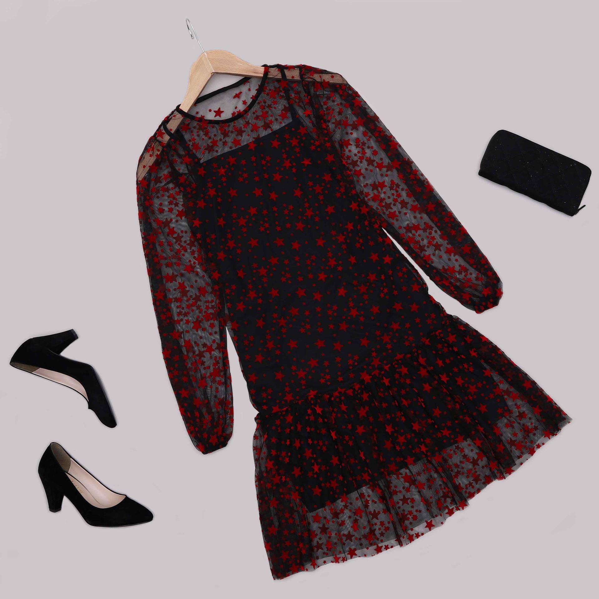Kırmızı Yıldızlı Şifon Elbise ELB583