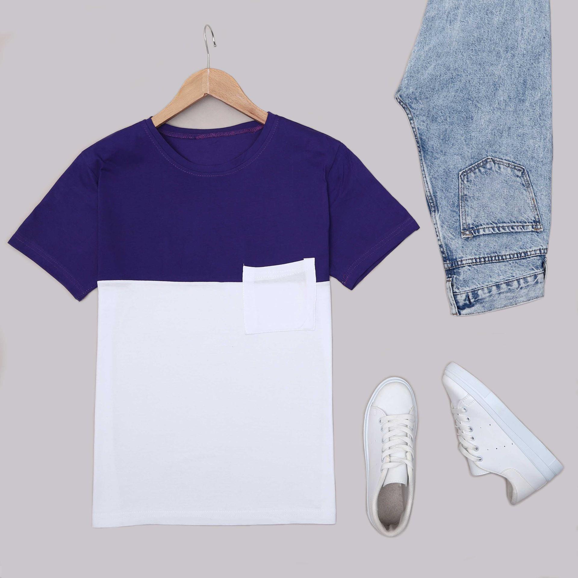 Mor Bloklu T-Shirt TSH230