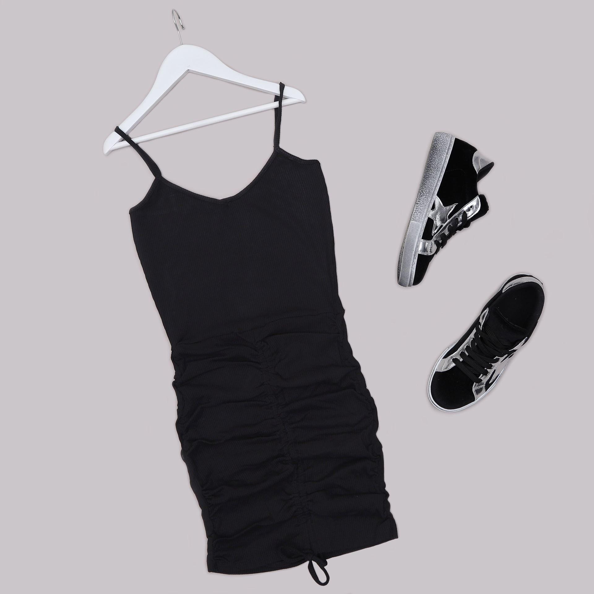 Siyah Büzgülü Kaşkorse Elbise ELB655