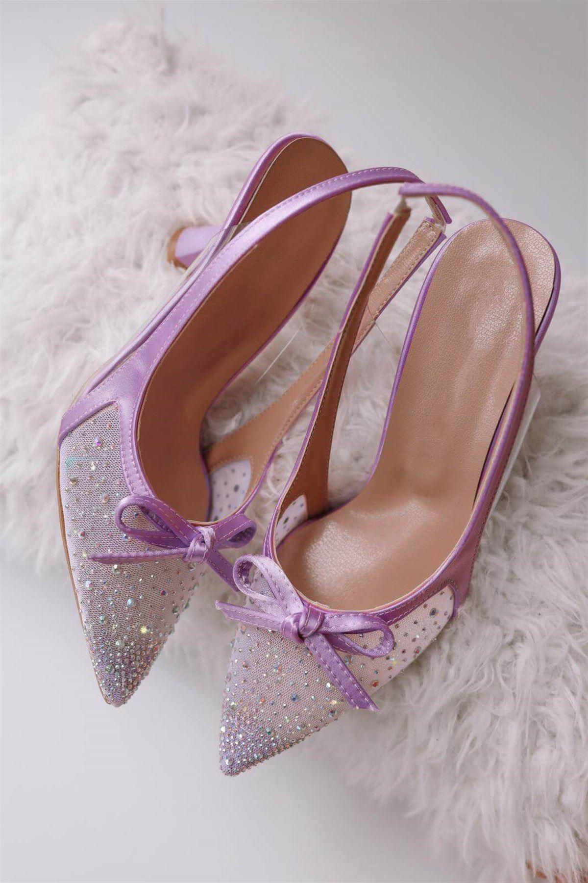 Lila Fiyonklu Topuklu Ayakkabı AYK249