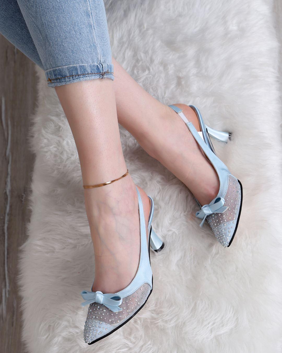 Bebe Mavisi Fiyonklu Topuklu Ayakkabı AYK252