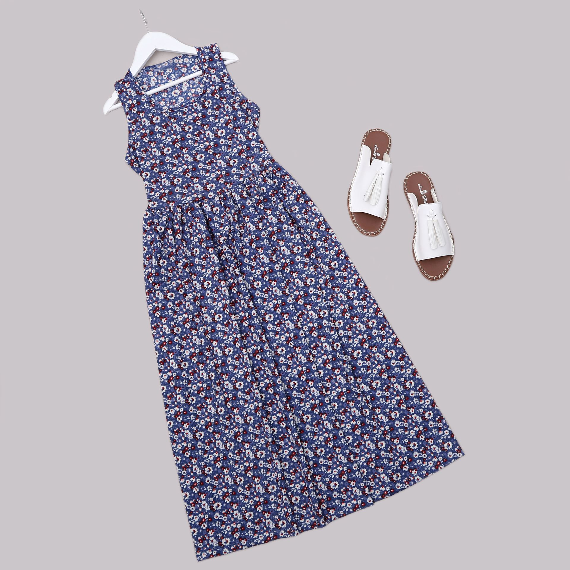 Mavi Çiçekli Elbise ELB659
