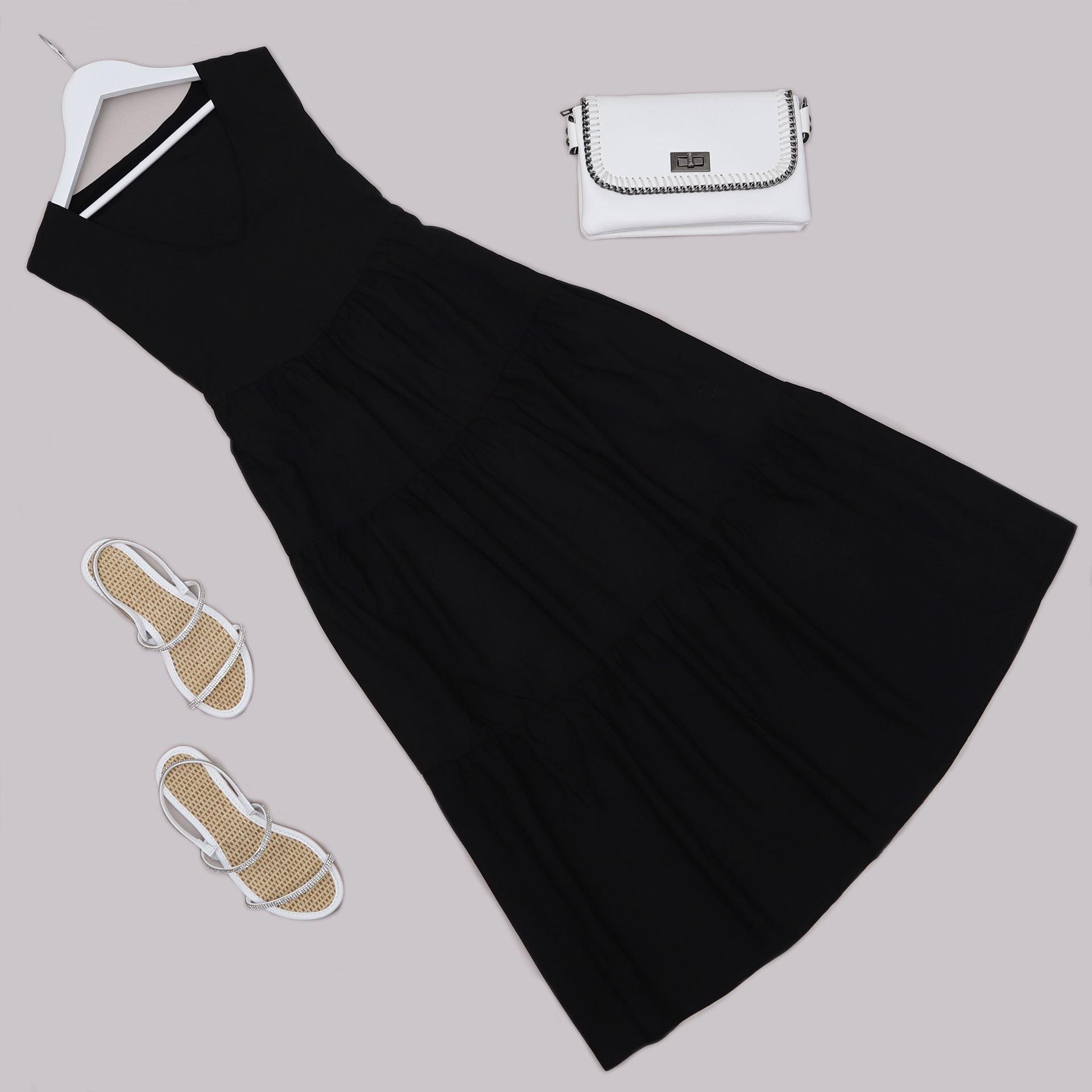 Siyah Volanlı Elbise ELB663
