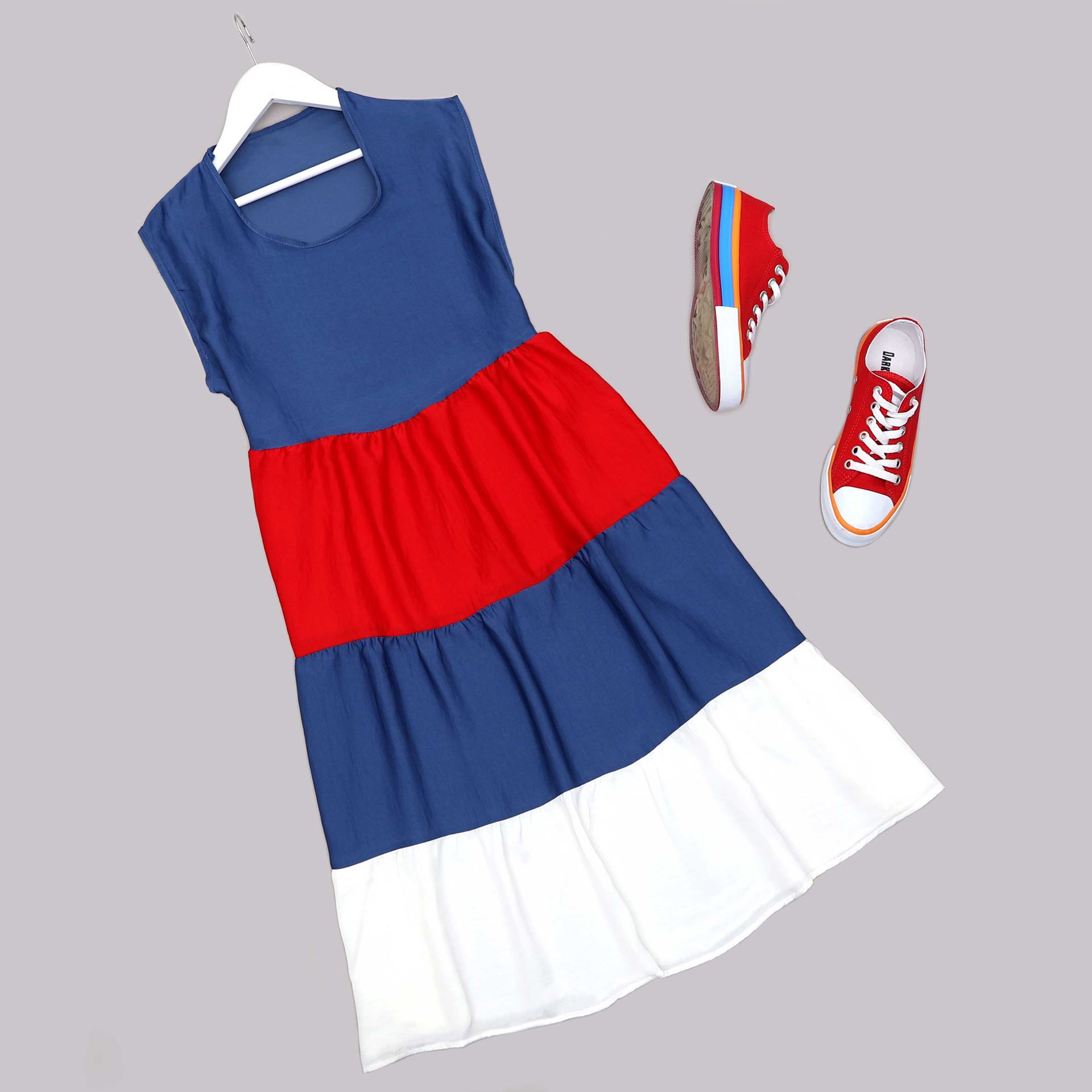 Üç Renk Volanlı Elbise ELB673