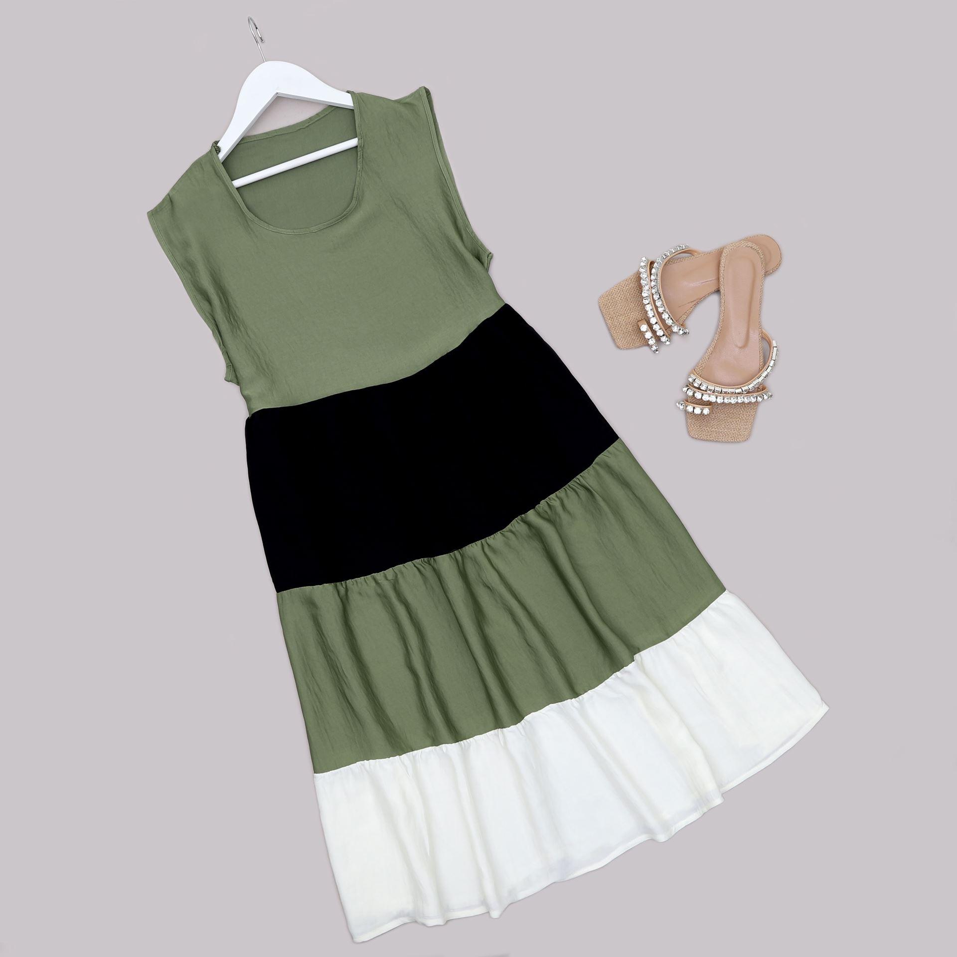 Üç Renk Volanlı Elbise ELB675