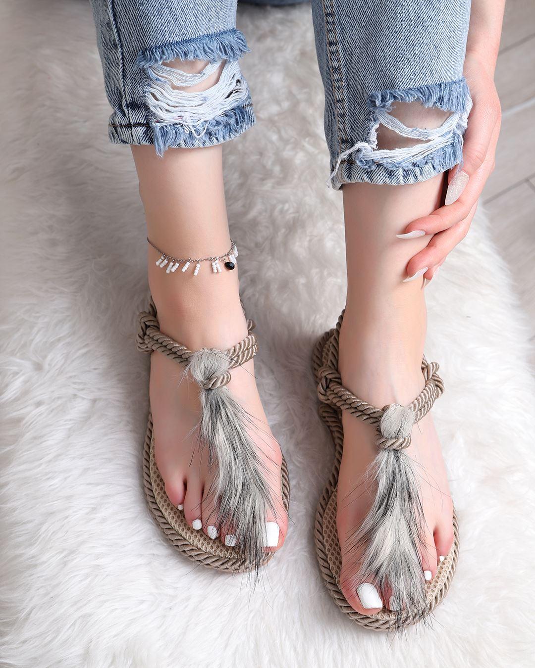 Tüylü Halat Sandalet SND026