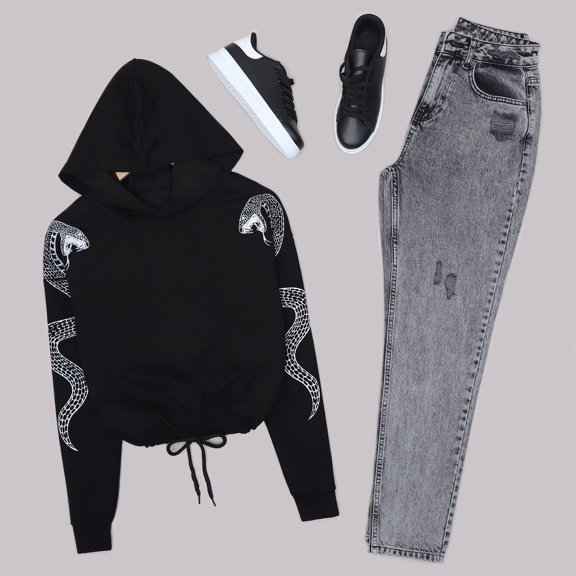Siyah Baskılı Sweat SWT587