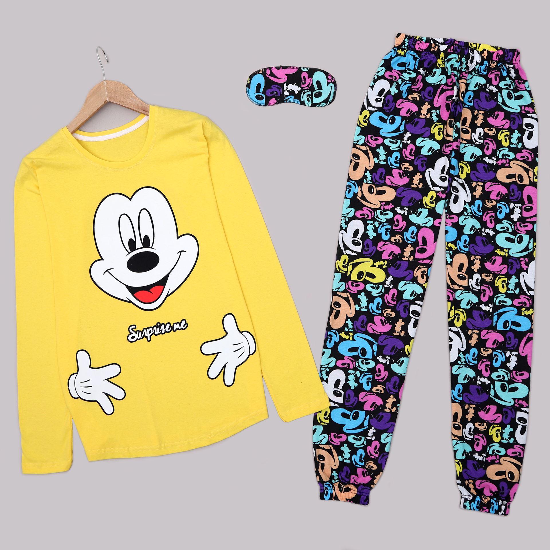 Sarı Baskılı Pijama Takımı PJM1434
