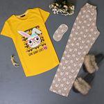 Uyku Bantlı Baskılı Pijama Takımı PJM117