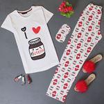 Uyku Bantlı Baskılı Pijama Takımı PJM119