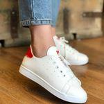 Beyaz Arkası Parlak Kırmızı Spor Ayakkabı AYK016