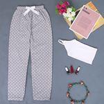Baskılı Gri Polar Pijama Altı PJM151