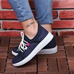 Tabanı Beyaz Lacivert Fileli Spor Ayakkabı AYK102