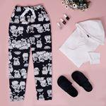 Baskılı Lacivert Polar Pijama Altı PJM222
